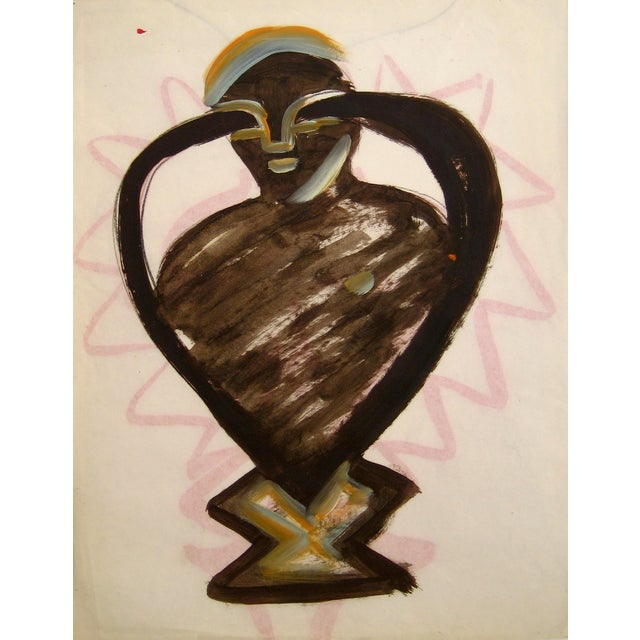 Michael di Cosola Oil on Paper Abstracted Figure For Sale