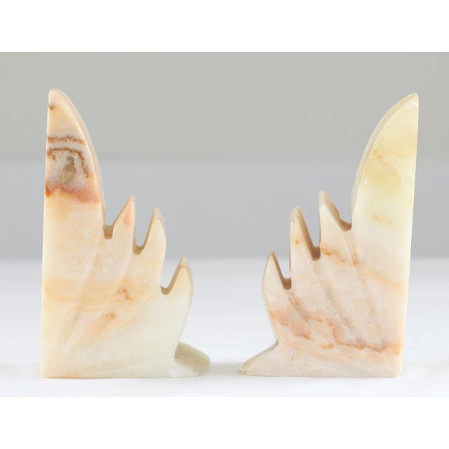 Carved Sculptural Alabaster Bookends - A Pair - Image 6 of 6