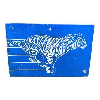 Vintage Metal Exxon Blue Tiger Sign For Sale