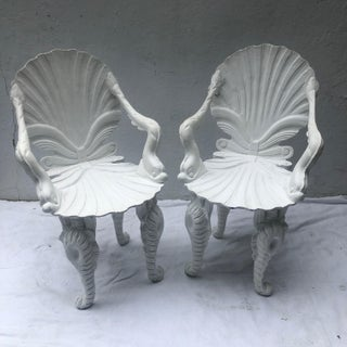 Set of Four Painted White Carved Wood Grotto Armchairs Preview