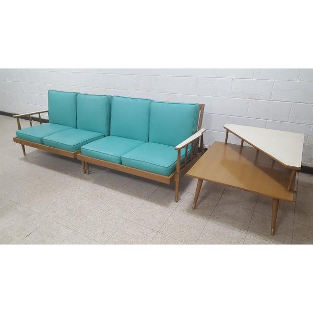 Mid-Century Turquoise Sofa & Table Set - Image 3 of 10