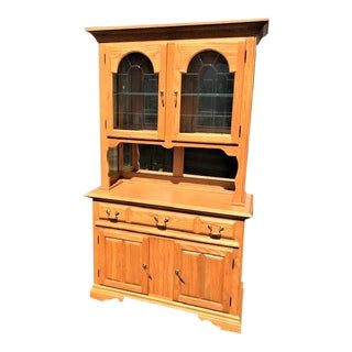 American Drew Oak Buffet With Lighted Hutch Top For Sale