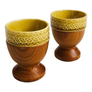 Mid Century Wood and Ceramic Egg Cups - Set of 2 For Sale