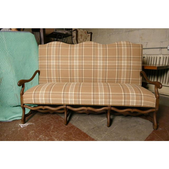 French Settee in Ralph Lauren Wool Plaid & Ostrich - Image 2 of 7