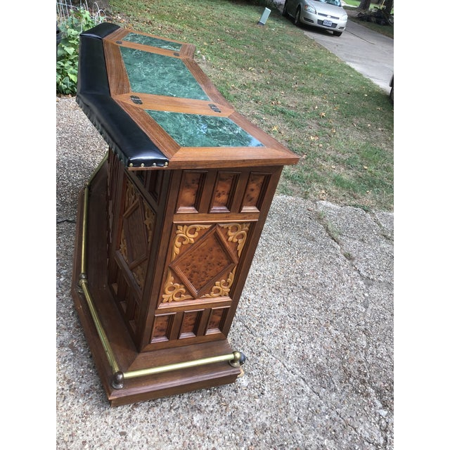 Metal Vintage Carved Chinese Oriental Style Folding Expandable Bar Cabinet For Sale - Image 7 of 12