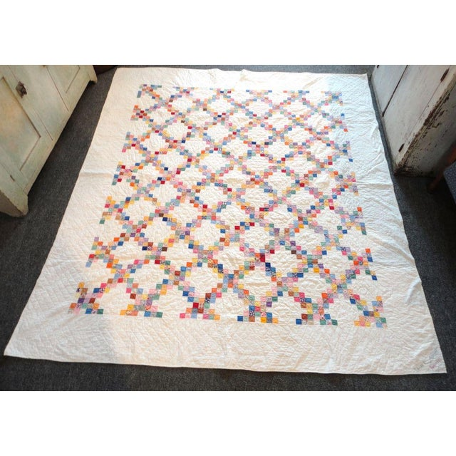 Signed and Dated 1941 Postage Stamp Double Irish Chain Quilt - Image 3 of 6