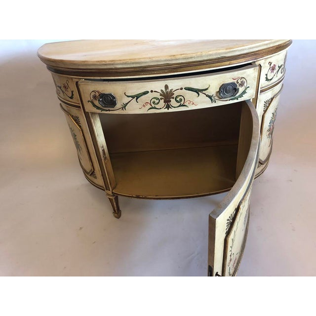 Metal 18th Century Style Demilune Cabinet For Sale - Image 7 of 12