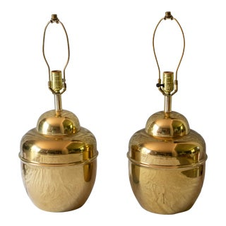 Polished Brass Ginger Jar Table Lamps - a Pair For Sale