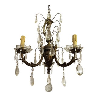 Circa 1910 Empire Style Baroque Bronze & Crystal Chandelier For Sale