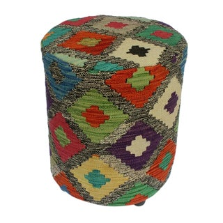 Arshs Daniel Black/Ivory Kilim Upholstered Handmade Ottoman