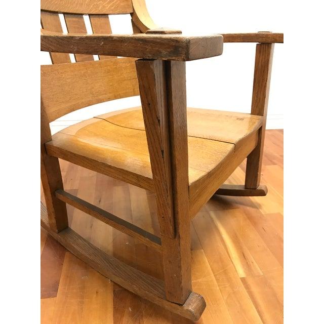 Chestnut Mission Style Arts and Crafts Bentwood Quarter Sawn Oak Rocker For Sale - Image 8 of 11