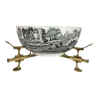 Early 20th Century Italian Copeland Spode Bowl With Brass Trivet