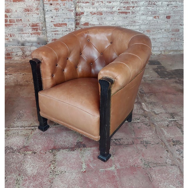 Fabulous Vintage Club Chairs W/Tufted Brown Leather-A Pair For Sale In Los Angeles - Image 6 of 11