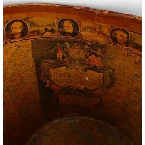 American (19th Cent) dark red leather fire bucket with decoupage interior showing a map of America and portraits of...