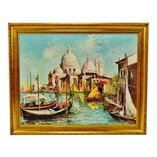 Vintage Framed Santa Maria Della Salute Venice Giclee on Canvas For Sale