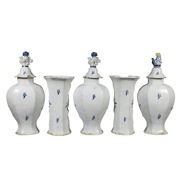 Delft Five-Piece Blue and White Pottery Garniture For Sale In Boston - Image 6 of 11