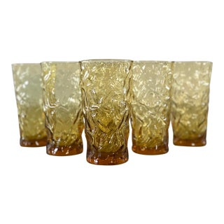 Vintage 1970s Textured Amber Tumblers, Set of 6 For Sale