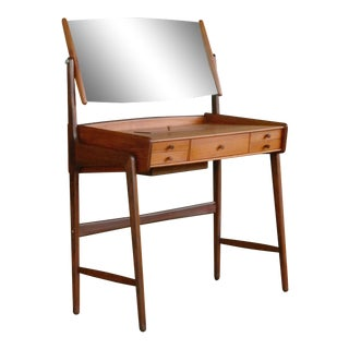 Danish Midcentury Teak Vanity or Small Dressing Table, Denmark, 1950s For Sale