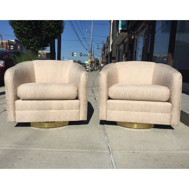 Blush Pink Mid-Century Swivel Chairs - A Pair - Image 2 of 6