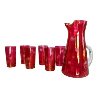 Vintage Mid-Century Cranberry Glassware Pitcher and Glasses - Set of 7 For Sale