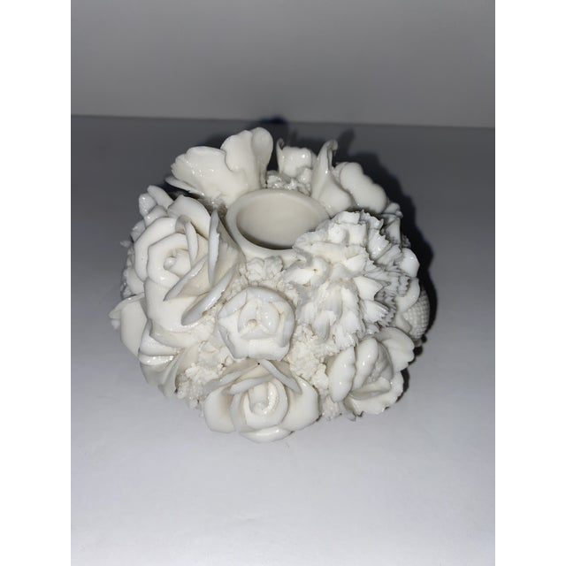 Glass Vintage Capodimonte Style Milk Glass Rose Floral in Basket Candle Holder For Sale - Image 7 of 8