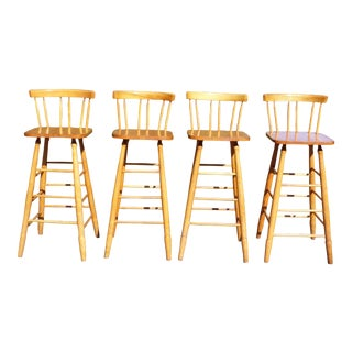 Vintage Set of 4 Guy Livingstone Wooden Farmhouse Kitchen Counter Stools Bar Stools For Sale
