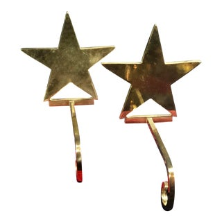 Vintage Solid Brass Christmas Star Stocking Hangers - a Pair For Sale