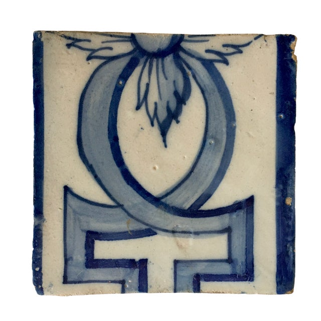 Traditional Antique Portuguese Blue and White Tile For Sale - Image 3 of 3