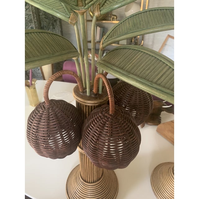 Mario Torres 1960s Mario Lopez Palm Tree Table Lamps With Coconuts - a Pair For Sale - Image 4 of 6