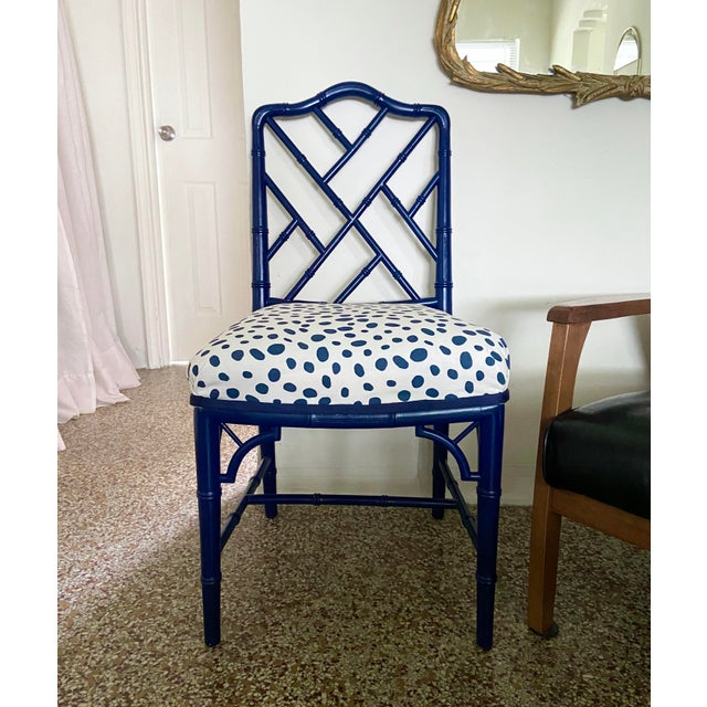 Chinoiserie 1960s Chinese Chippendale Style Century Furniture Navy Lacquer Faux Bamboo Chair For Sale - Image 3 of 13