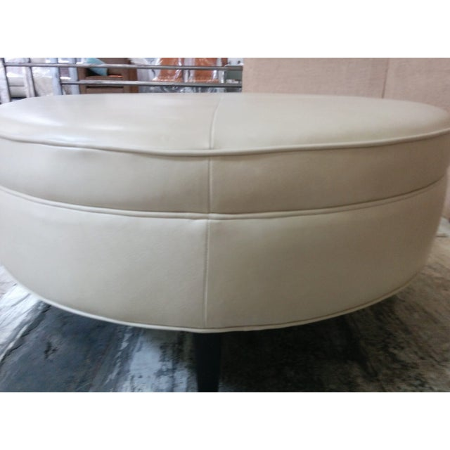 Leather Ottoman Kravet Leather Rushmore-Putty - Image 6 of 7