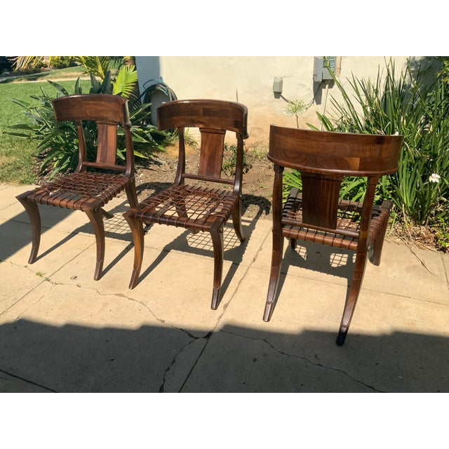 2000 - 2009 Klismos Walnut Chairs - Set of 3 For Sale - Image 5 of 9