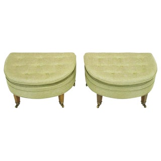 Pair of Demilune Ottomans by Kittinger For Sale