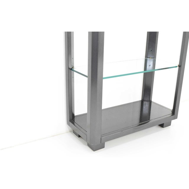 1980s Shelf Unit With Glass Shelves For Sale - Image 5 of 10