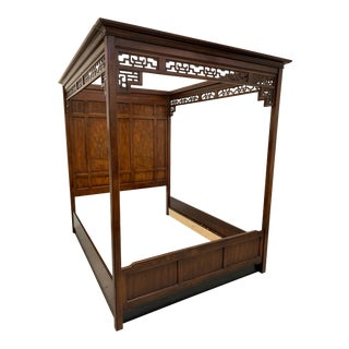 Asian Chinoiserie Queen Size Opium Canopy Bed by Bernhardt For Sale