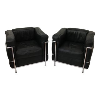 1970s Vintage Le Corbusier Lc2 Petite Black Leather and Chrome Chairs -A Pair For Sale