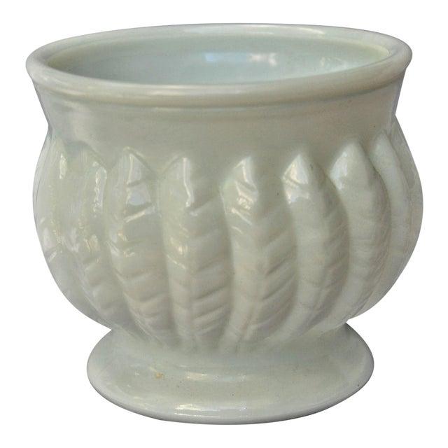 Vintage Leaf Design Randall Milk Glass Vase For Sale