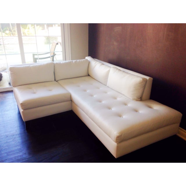 Modern White Faux Leather L-Shaped Sofa - Image 2 of 6