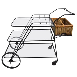 Wrought Iron Garden Serving Cart Attributed to Salterini For Sale