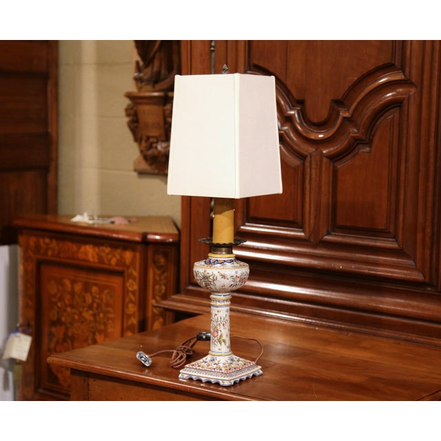 "This elegant, antique table lamp was crafted in Prefailles on the west coast of France, circa 1880. The traditional ""lampe..."