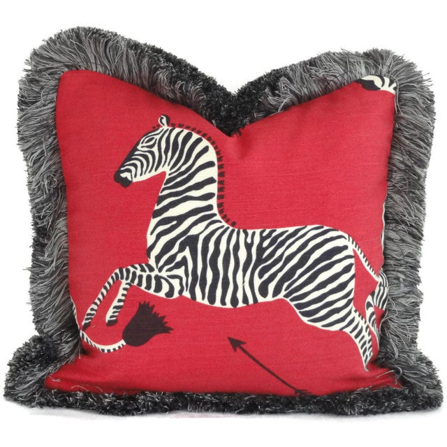 """Not Yet Made - Made To Order 20"""" x 20"""" Red Scalamandre Zebra Decorative Pillow Cover For Sale - Image 5 of 5"""
