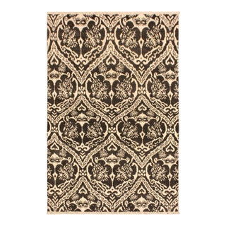 Nabila Modern Gidget Charcoal/Ivory Wool & Viscouse Rug - 4'3 X 6'2 For Sale