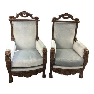 Mid Century Vintage Marge Carson Louis XV Silver Embossed Velvet Wingback Arm Chairs- A Pair For Sale