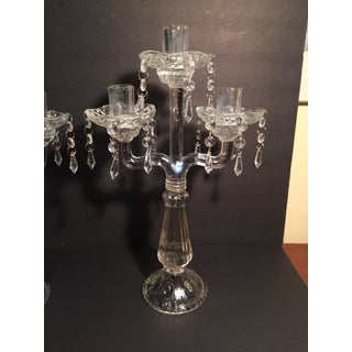 "Antique or Vintage Hand Blown 16"" Triple Candle Holders With Prisms Centerpiece - a Pair Preview"