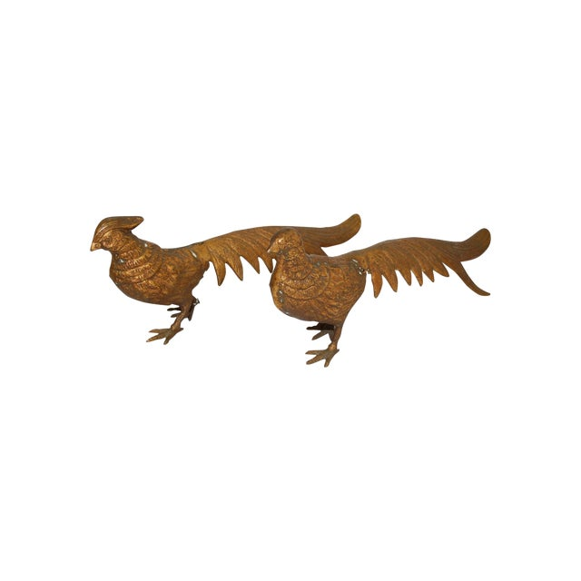 Mid-Century 1950s Brass Pheasants - A Pair - Image 1 of 3