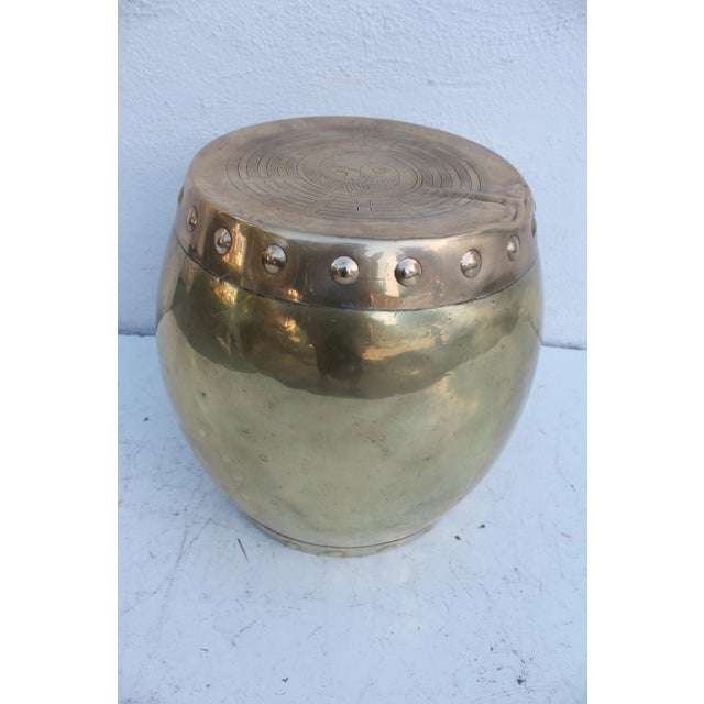 Vintage Chinoiserie Brass Stool - Image 5 of 8