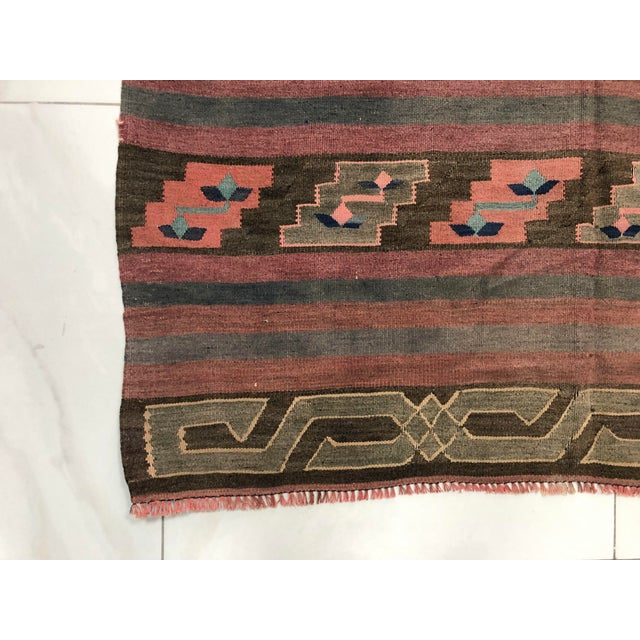 Textile Turkish Tribal Handmade Kilim Rug - 4′ × 8′1″ For Sale - Image 7 of 11