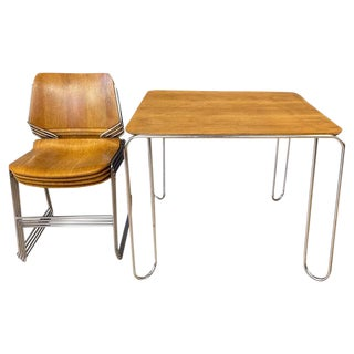 David Rowland Oak 40/4 Stacking Chairs and Unusual Table, Five-Piece Set For Sale