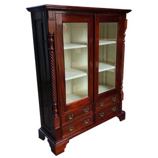 Antique Chippendale Mahogany Barley Twist Bookcase Cabinet For Sale