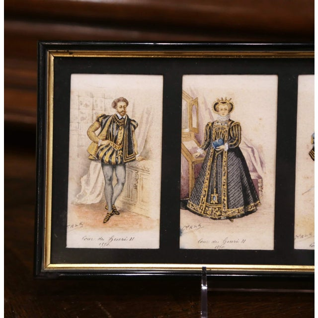 """19th Century French King of France Framed Color Prints """"Set of Three"""" For Sale - Image 9 of 12"""